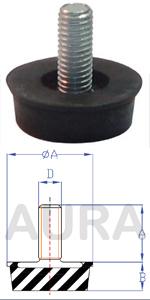 Silent blocs amortisseurs (pieds machine) série AAS-1 - Pour charge en compression de 60 Kgs
