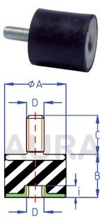 Silent bloc série AMR-11 - Pour charge en compression de 15 à 90 Kgs