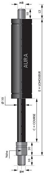 Vérin de TRACTION EN STOCK - Courses de 100 à 400 mm - Force 100 à 1200 Newtons  - Tige diamètre  10 mm - M8