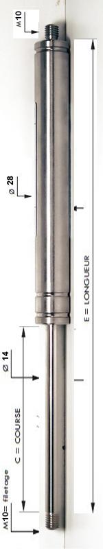 Vérin INOX 304 avec tige de diamètre 14mm - Extrémités filetées M10