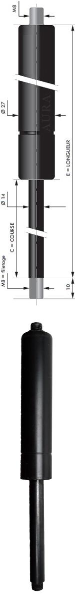 Vérin POUSSEE - Tige diamètre 14 mm - Courses de 60 à 1000 mm - Forces 250 à 2100 newtons
