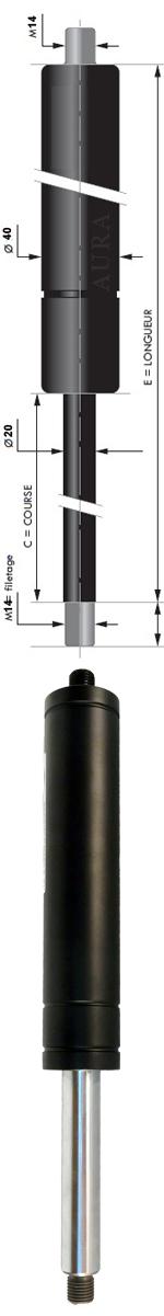 Vérin POUSSEE - Tige diamètre 20 mm - Courses de 50 à 800 mm - Forces 300 à 5000 N newtons
