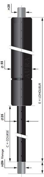 Vérin POUSSEE - Tige diamètre 25 mm - Courses de 50 à 1000 mm - Forces 500 à 7500 newtons