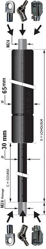 Vérin POUSSEE - Tige diamètre 30 mm - Courses de 100 à 1350 mm - Forces 300 à 10000 newtons