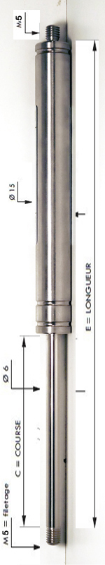 Vérin INOX 304 avec tige de diamètre 6mm - Extrémités filetées M5