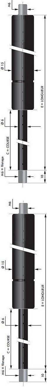Vérin POUSSEE - Tige diamètre 6 mm - Courses de 20 à 150 mm - Forces 30 à 400 newtons