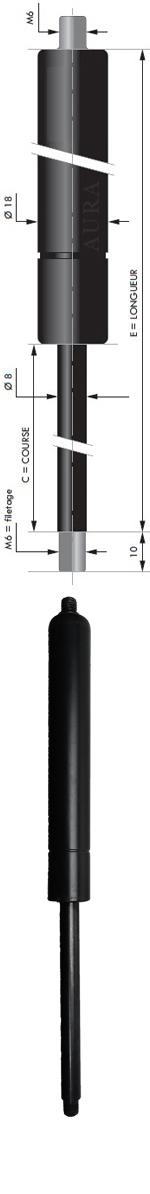 Vérin POUSSEE - Tige diamètre 8 mm - Courses de 57 à 250 mm - Forces 40 à 800 newtons