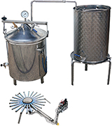 HYDRO DISTILLATEUR ALAMBICS INOX SPRG - GAZ - 35-50-70-90  LITRES - 2 méthodes de distillation