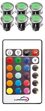 KIT CHROMOTHERAPIE - Avec 6 x MINI spots INOX couleurs  - A encastrer - Diamètre 35 mm