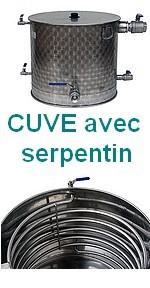 CUVES  INOX avec échangeur thermique -type HERMS - fond  GAZ - Serpentin chauffe ou refroidissement - 150 à 500L - 10/10 -ème