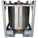 CUVE PALETTISABLE EMPILABLE IPRC -  vanne centrée - 1100 x 1200 mm - dim standard