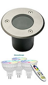 KIT SPOTS CHROMOTHERAPIE 16000 COULEURS + BLANCS chaud et froid  - A sceller - diamètre 100 mm