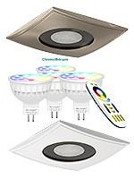 Kit spots PRO - SRC - carrés - à encastrer - 100 x 100 mm - COULEUR + BLANC CHAUD ET FROID