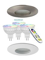 Kit spots PRO - SRM - ronds - à encastrer - diamètre 85 mm - COULEUR + BLANC CHAUD ET FROID