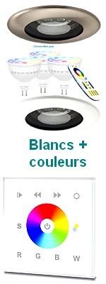 Kit spots PRO - SRP - ronds - à encastrer - diamètre 100 mm - COULEUR + BLANC CHAUD ET FROID
