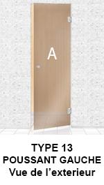 TYPE 13 Porte Poussant GAUCHE - Porte vitrée sans cadre